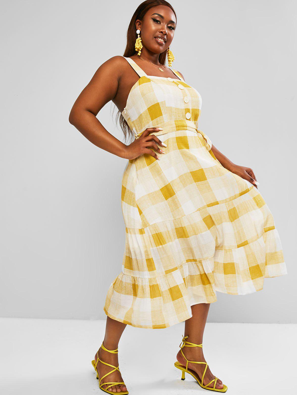 Chic Plus Size Plaid Belted Tiered Dress