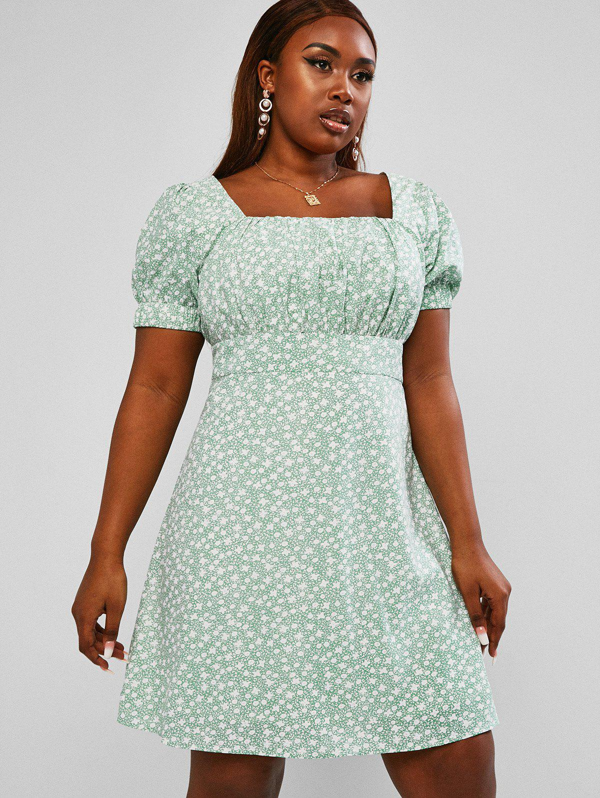Affordable Tiny Floral Ruched Plus Size Milkmaid Mini Dress