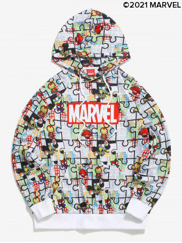 Marvel Spider-Man Cartoon Puzzle Pattern Pullover Hoodie