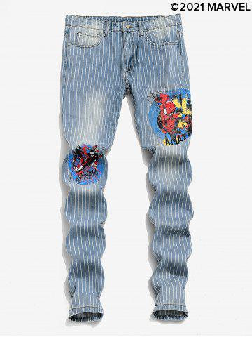 Marvel Spider-Man Graphic Pinstriped Casual Jeans