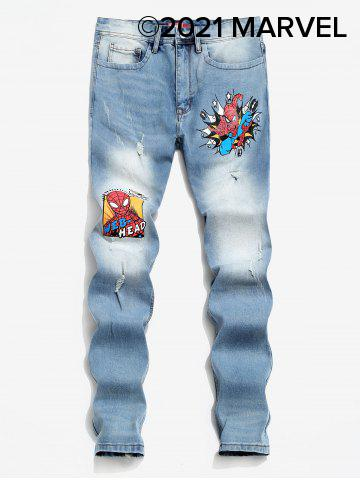 Marvel Spider-Man Web-Head Print Jeans - BLUE - 2XL