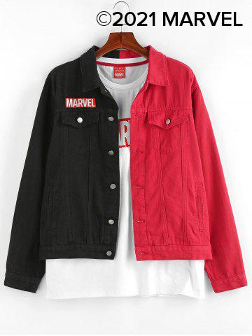 Marvel Spider-Man Embroidery Colorblock Jean Jacket - MULTI - 2XL