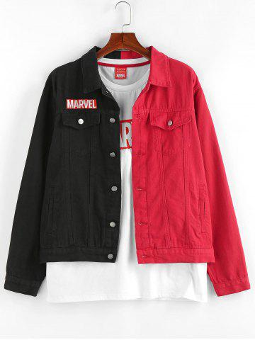 Marvel Spider-Man Embroidery Colorblock Jean Jacket