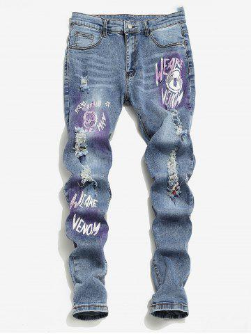 Marvel Spider-Man Graphic Ripped Jeans - LIGHT BLUE - 2XL