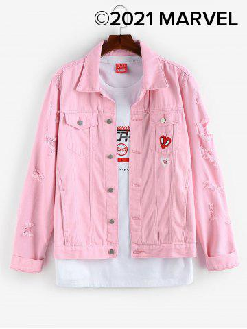 Marvel Spider-Man Love Embroidery Jean Jacket - LIGHT PINK - 2XL