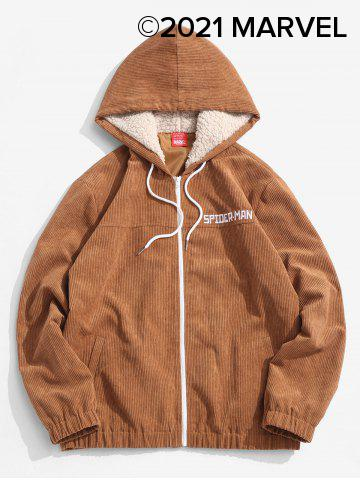 Marvel Spider-Man Embroidery Faux Fur Hooded Corduroy Jacket - CAMEL BROWN - 2XL