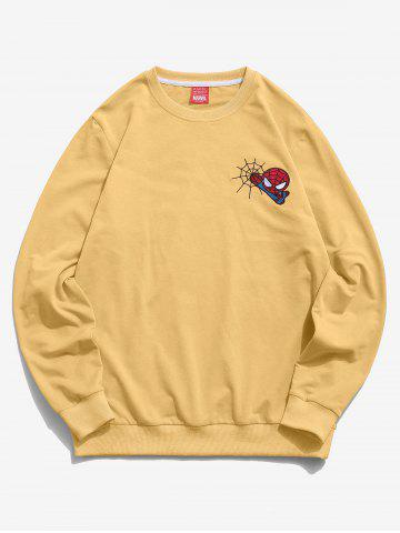 Marvel Spider-Man Embroidery Web Casual Sweatshirt - YELLOW - 2XL