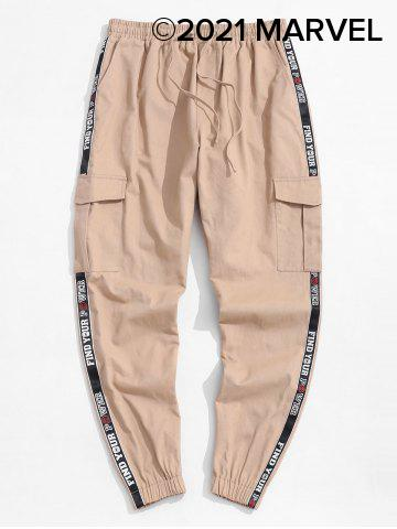 Marvel Spider-Man Letter Patched Cargo Pants - LIGHT COFFEE - 2XL