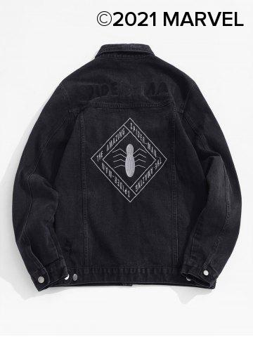 Marvel Spider-Man Letter Embroidery Ripped Jean Jacket - BLACK - 2XL