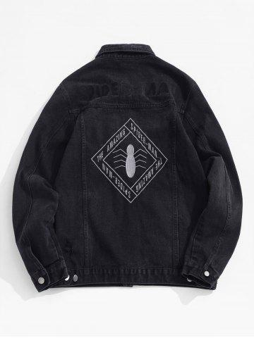 Marvel Spider-Man Letter Embroidery Ripped Jean Jacket