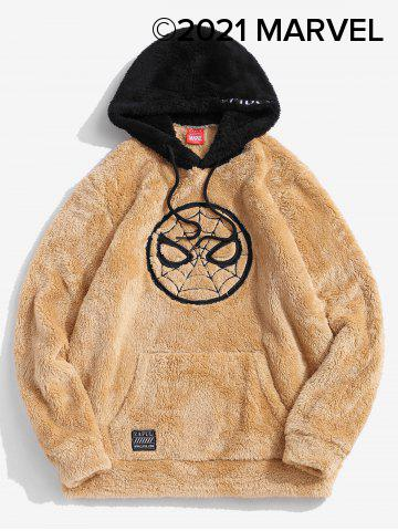 Marvel Spider-Man Embroidered Contrast Fluffy Hoodie - CAMEL BROWN - 2XL