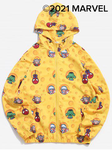 Marvel Spider-Man Hooded Cartoon Print Jacket - YELLOW - S