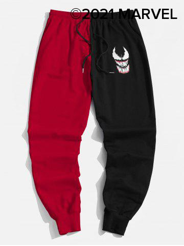 Marvel Spider-Man Venom Print Contrast Drawstring Sweatpants - RED - 2XL