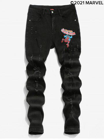 Marvel Spider-Man Graphic Print Ripped Tapered Jeans