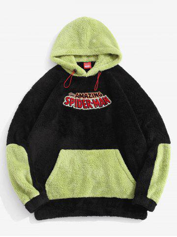 Marvel Spider-Man Embroidered Contrast Fluffy Pullover Hoodie