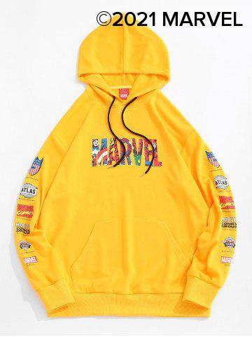 Marvel Spider-Man Letter Graphic Print Front Pocket Hoodie - YELLOW - S