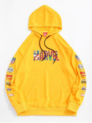 Marvel Spider-Man Letter Graphic Print Front Pocket Hoodie - YELLOW - L