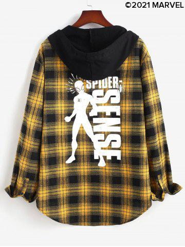 Marvel Spider-Man Plaid Graphic Print Hooded High Low Shirt