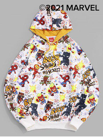 Marvel Spider-Man Letter Graphic Printed Pullover Hoodie - WHITE - XL