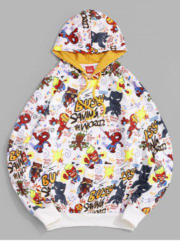 Marvel Spider-Man Letter Graphic Printed Pullover Hoodie - WHITE - 2XL