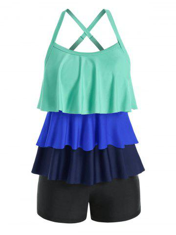 Plus Size Colorblock Layered Crisscross Tankini Swimwear