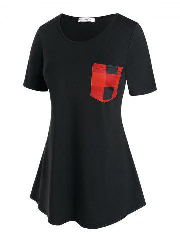 Plus Size Plaid Pocket Longline T Shirt - BLACK - 2X