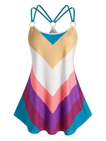 Plus Size O Ring Colorful Striped Tank Top