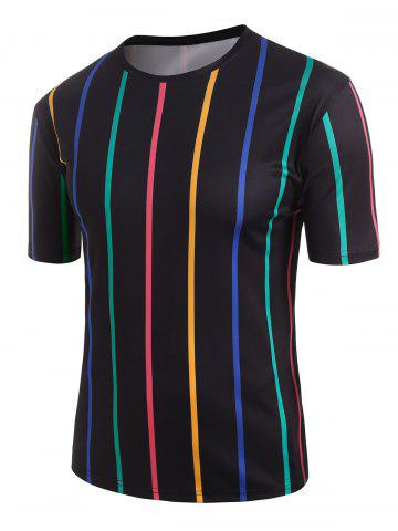 Colorful Striped Print T-shirt - BLACK - 2XL