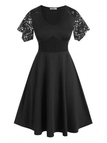 Plus Size Lace Insert Empire Waist Midi Dress