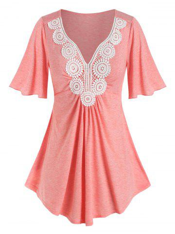 Plus Size Crochet Lace Pleated T Shirt - LIGHT ORANGE - 1X