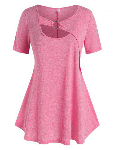 Plus Size Ring Cutout Casual Tunic Tee - LIGHT PINK - 5X