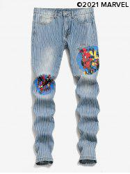 Marvel Spider-Man Graphic Pinstriped Casual Jeans -