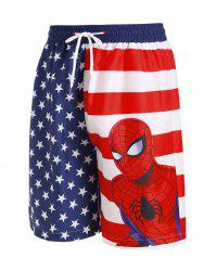 Marvel Spider-Man American Flag Beach Shorts -