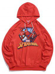 Sweat à Capuche Simple Graphique Imprimé Marvel Spider-Man - Rouge S