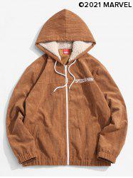 Marvel Spider-Man Embroidery Faux Fur Hooded Corduroy Jacket -