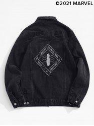 Marvel Spider-Man Letter Embroidery Ripped Jean Jacket -