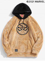 Marvel Spider-Man Embroidered Contrast Fluffy Hoodie -