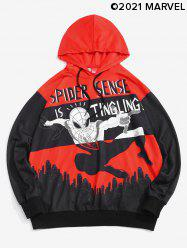 Marvel Spider-Man Graphic City Print Drawstring Hoodie -