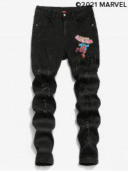 Marvel Spider-Man Graphic Print Ripped Tapered Jeans -