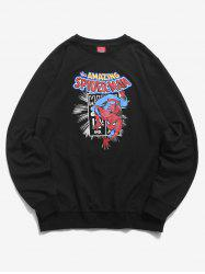 Sweat-shirt Lettre Graphique Marvel Spider-Man Imprimé - Noir M