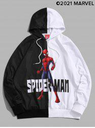 Marvel Spider-Man Print Two Tone Pullover Hoodie -