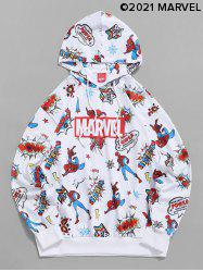 Marvel Spider-Man Letters Graphic Print Drawstring Hoodie -