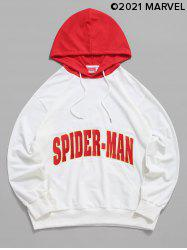 Marvel Spider-Man Letter Embroidered Contrast Pullover Hoodie -