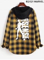 Marvel Spider-Man Plaid Graphic Print Hooded High Low Shirt -