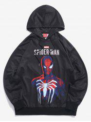 Sweat à Capuche Pull-over Lettre Marvel Spider-Man Imprimé - Noir L