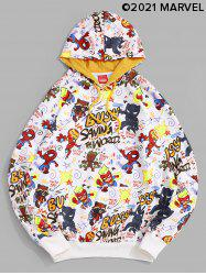 Marvel Spider-Man Letter Graphic Printed Pullover Hoodie -