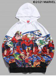 Marvel Spider-Man Printed Rib-knit Trim Hoodie -