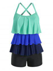 Plus Size Colorblock Layered Crisscross Tankini Swimwear -