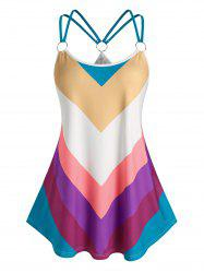 Plus Size O Ring Colorful Striped Tank Top -