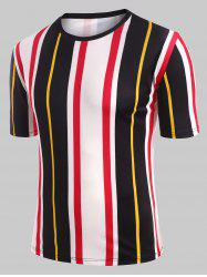 Contrast Striped Casual Short Sleeve T-shirt -